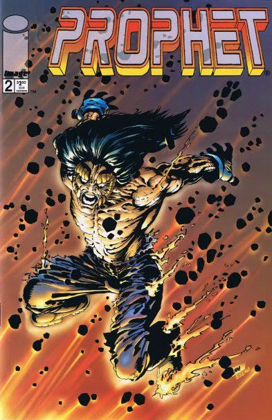 Cover to Prophet #2 by Frank Miller|Chuck Dixon revamped Prophet in 1995 and told us that everything we knew about Prophet was a LIE! Prophet was actually a creation of Omen sent to kill Dr. Wells. The assassination attempt was unsuccessful and Dr. Wells managed to wipe Prophet's mind clean.|Covers|juju