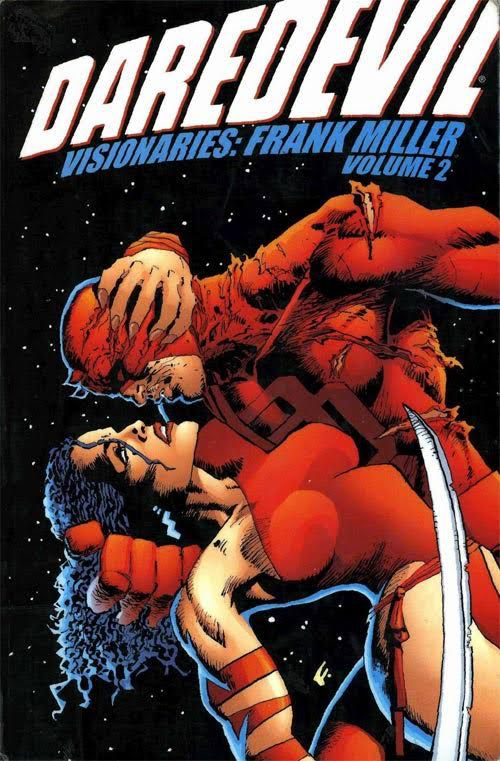 Cover to Daredevil Visionaries: Frank Miller Vol 2 This volume features the gritty, street-level action and moody atmosphere that made Miller's Daredevil classic Ñ including appearances by the Kingpin, Elektra and Bullseye.  Daredevil daredevil